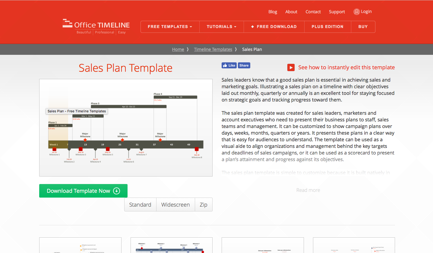 office timeline sales plan template