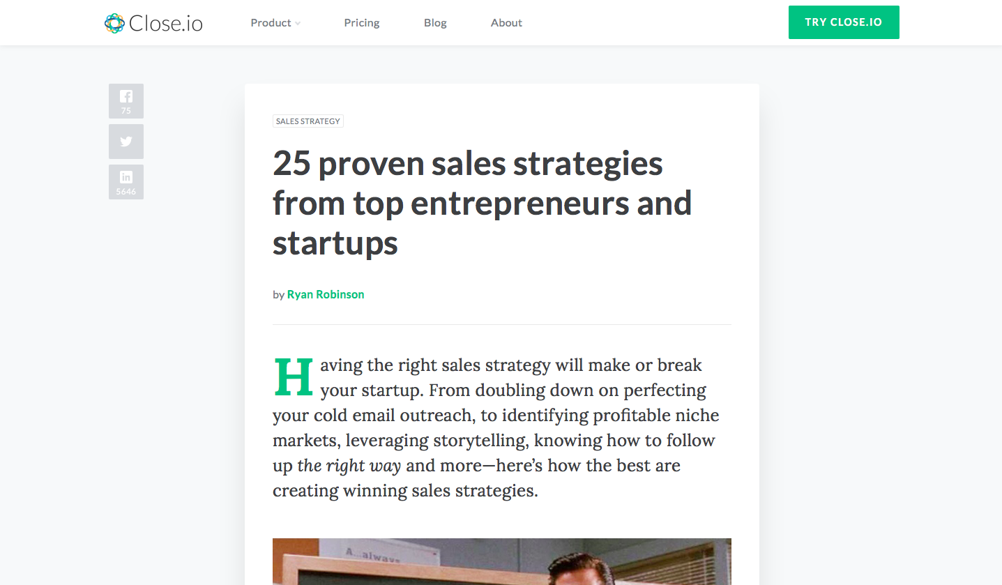 online sales-cmo-marketing-sales strClose.io 25 proven sales strategies from top entrepreneurs and startups