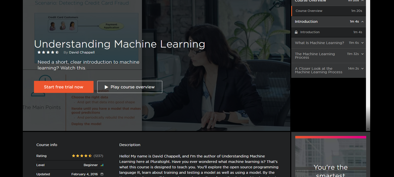 beginner machine learning course pluralsight