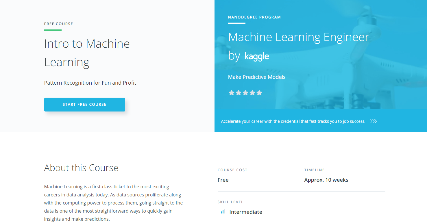 beginner machine learning course udacity