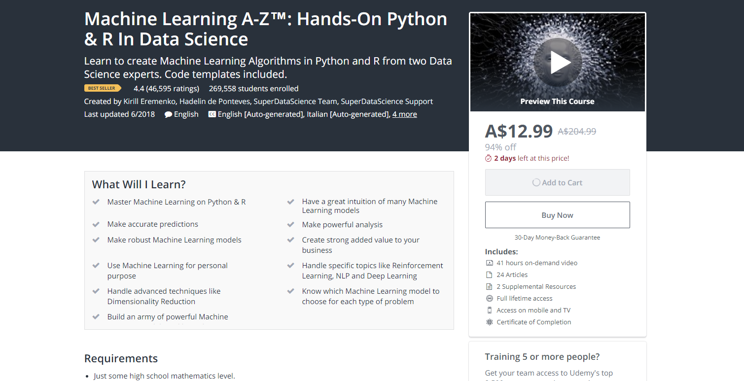 beginner machine learning courses udemy