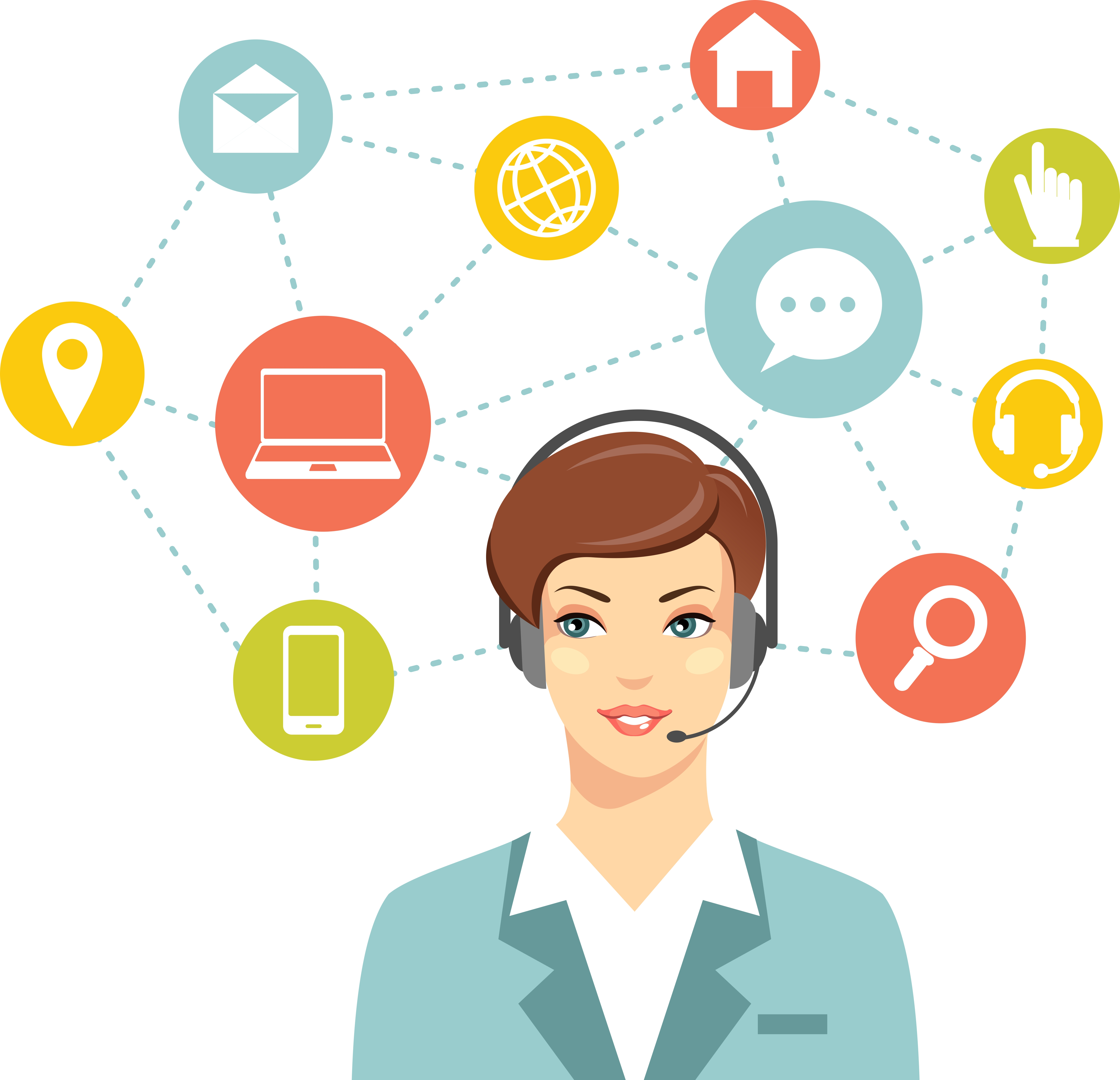 Call center online customer support woman operator concept